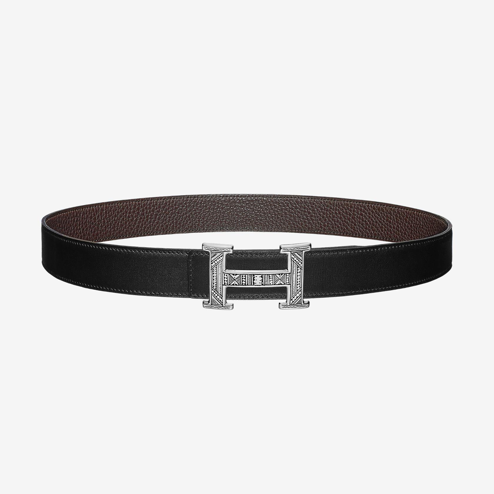 6ea42a0dac Boucle de ceinture Touareg & Cuir de ceinture réversible 32 mm | Hermès