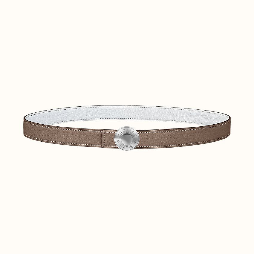 zoom image, Bouton Bombe belt buckle & Reversible leather strap 24 mm