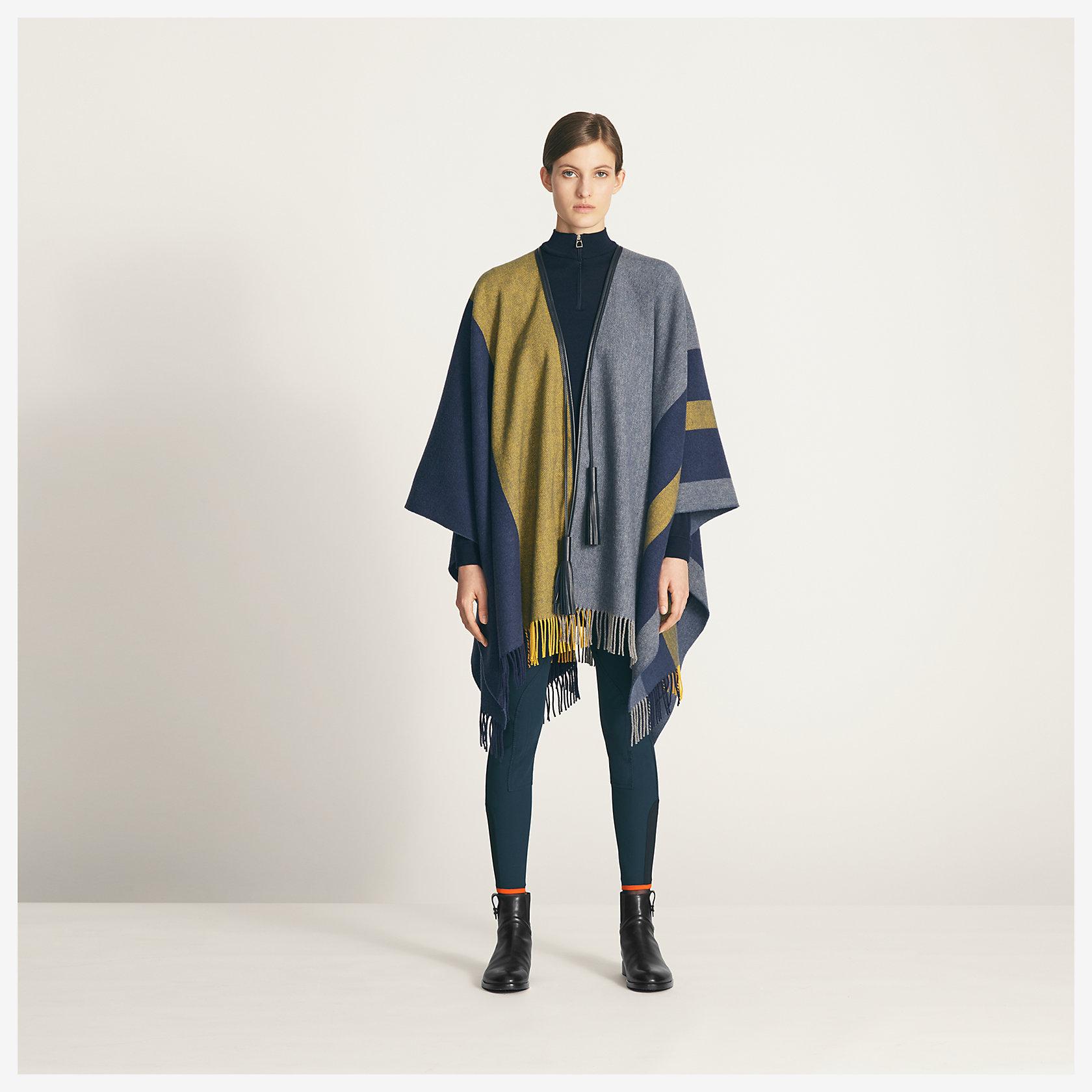 Book Cover Pattern Wool Cashmere Poncho ~ Casaque poncho hermès