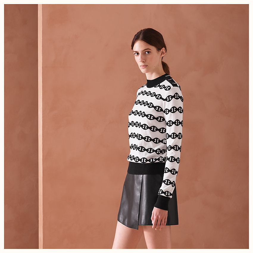 "zoom image, ""Chaines d'Ancres bicolores"" sweater with buttoned shoulder"