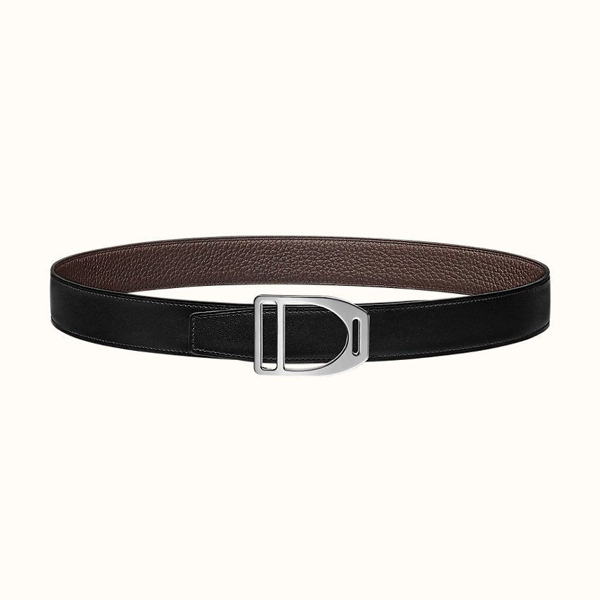 zoom image, Etrier buckle & Reversible leather strap 32mm