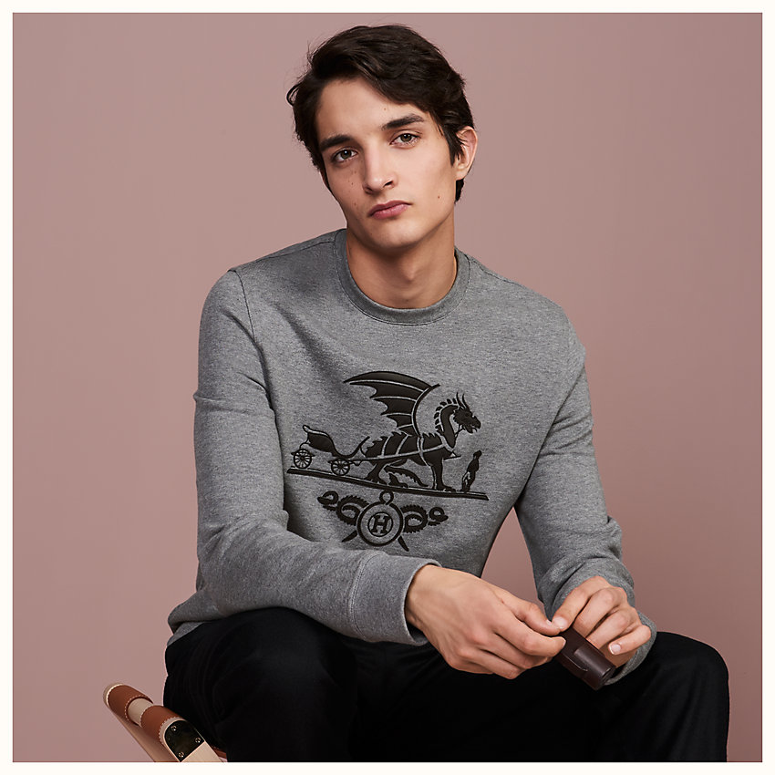 "zoom image, ""Ex-Libris Dragon"" crewneck sweater with leather patch detail"