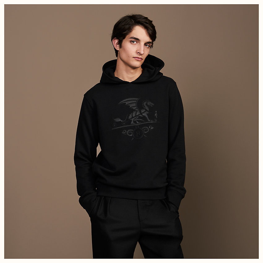 "zoom image, ""Ex-Libris Dragon"" hooded sweater with leather patch detail"