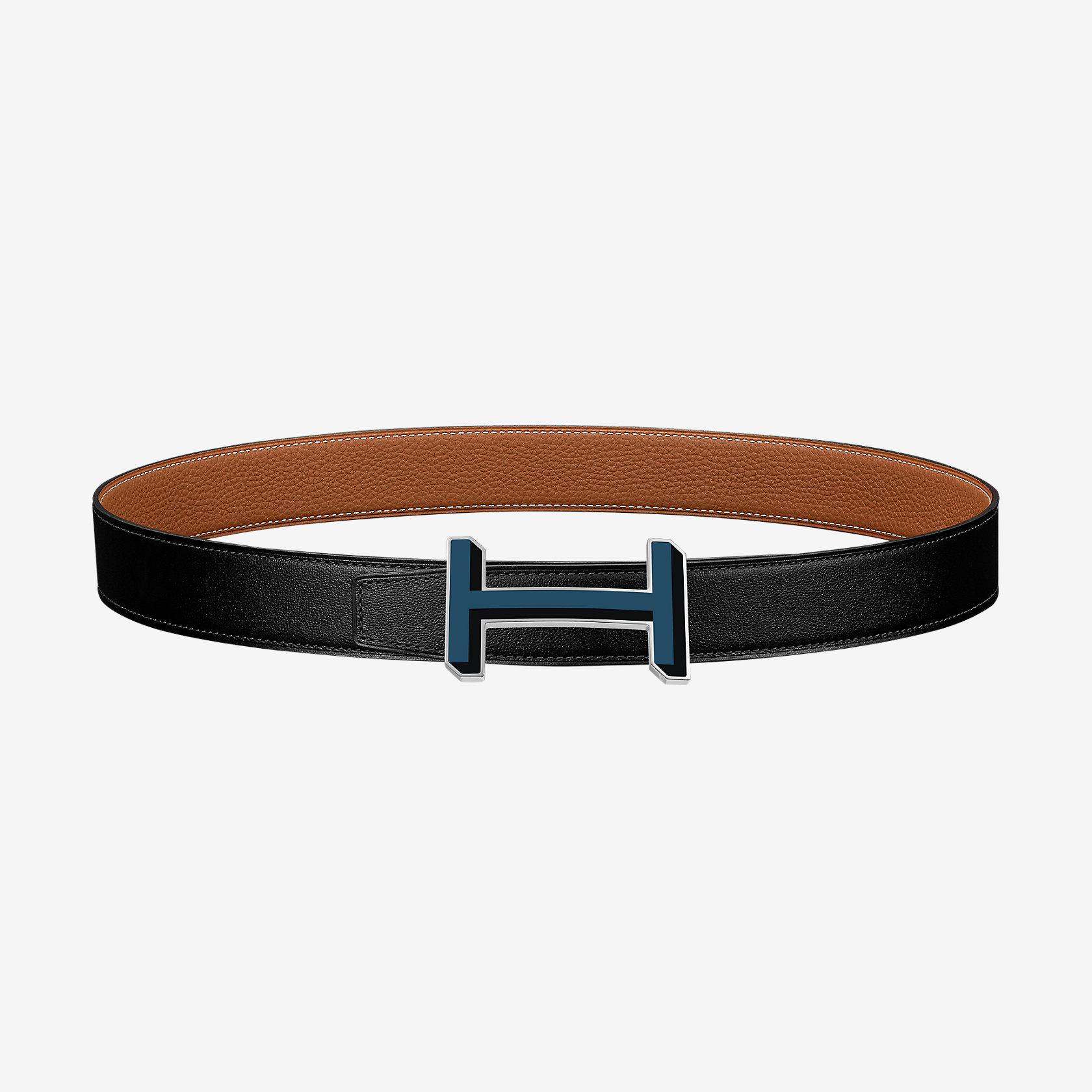 H 3D belt buckle & Reversible leather strap 32 mm