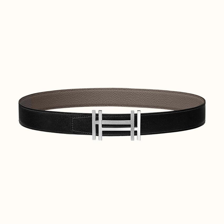 zoom image, H au Carre belt buckle & Reversible leather strap 32mm