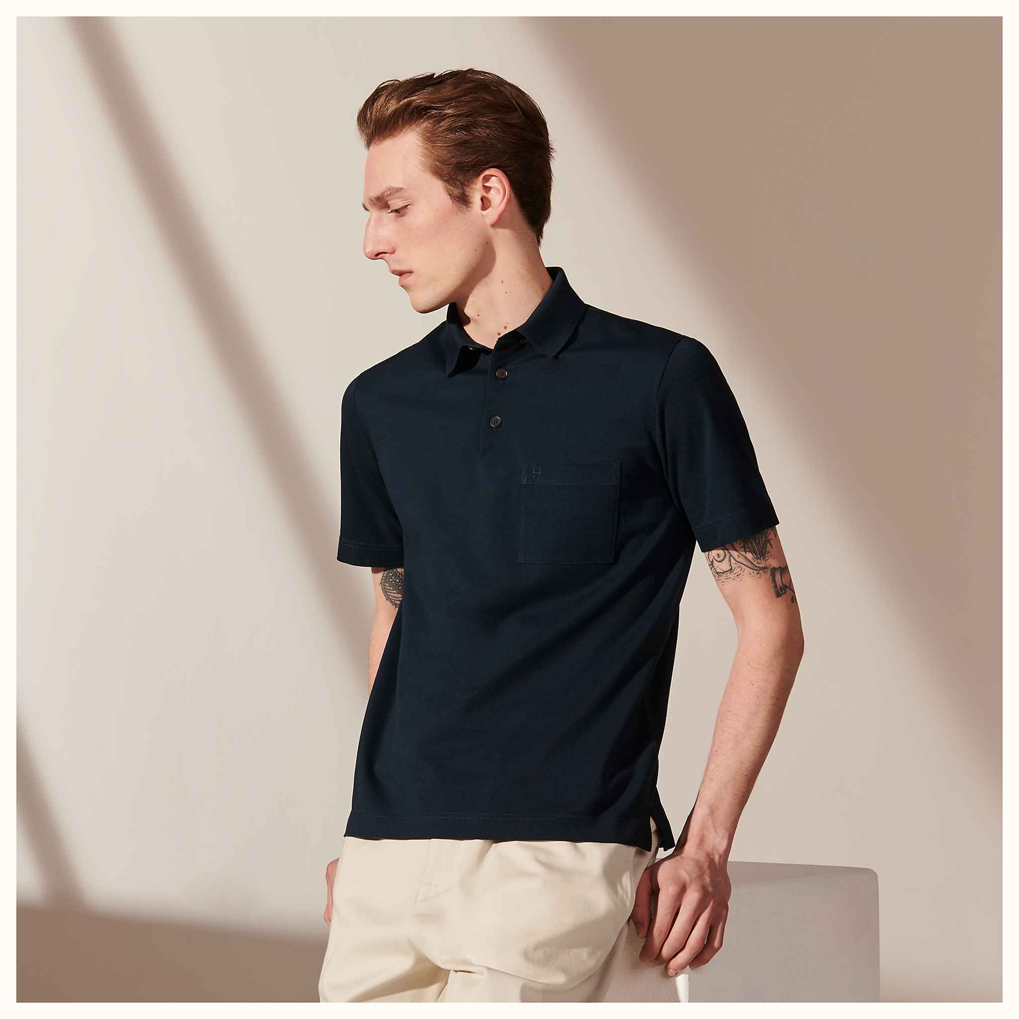 1efcfebe H embroidered buttoned polo shirt | Hermès
