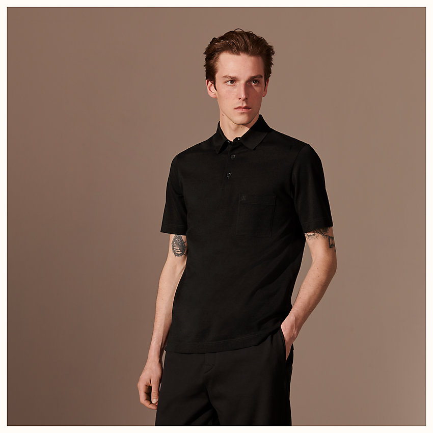zoom image, H embroidered buttoned polo shirt