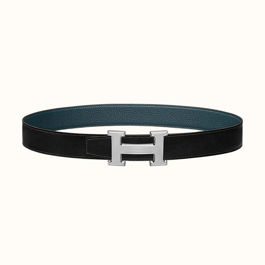 zoom image, H Guillochee belt buckle & Reversible leather strap 32mm