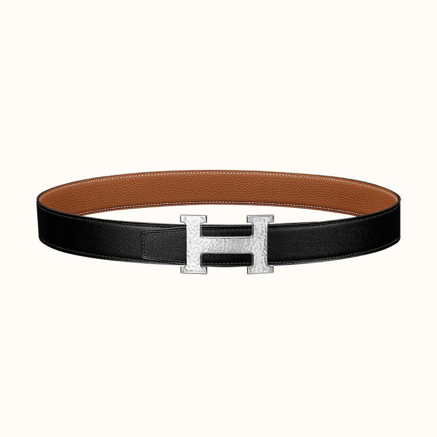 zoom image, H Martelee belt buckle & Reversible leather strap 32mm