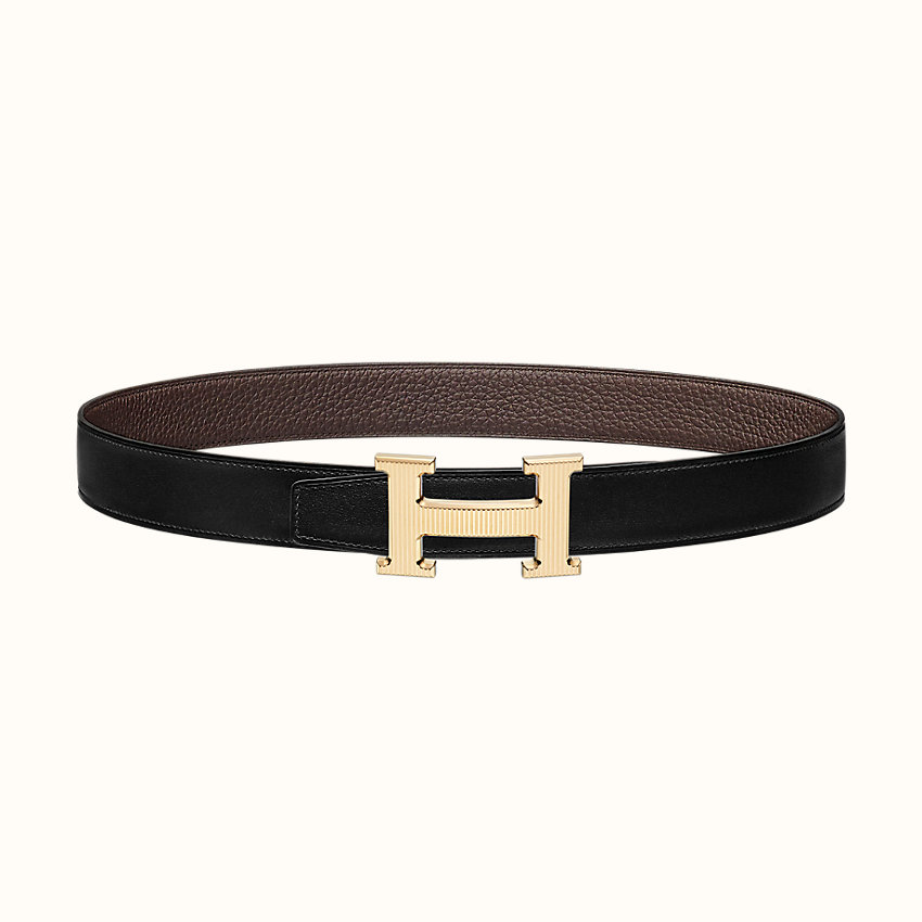 zoom image, H Strie belt buckle & Reversible leather strap 32mm