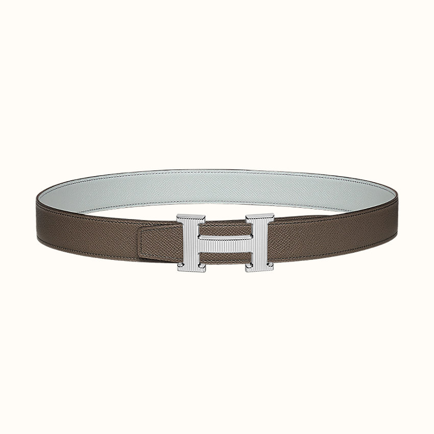 zoom image, H Strie belt buckle & Reversible leather strap 32 mm