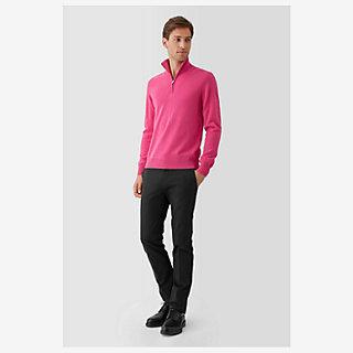 Inverted cashmere zip-neck sweater - worn