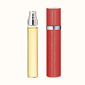 Terre d'Hermes Set of 3 Parfum refills & Refillable leather case