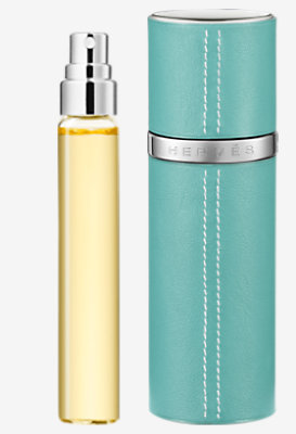 Terre d'Hermes Set of 3 Parfum refills & Refillable leather case -