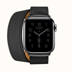 Space Black Series 6 case & Band Apple Watch Hermes Double Tour 40 mm