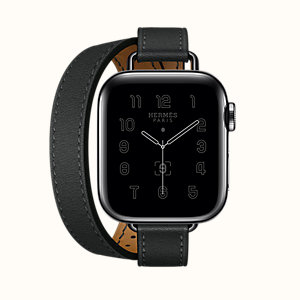 Space Black Series 6 case & Band Apple Watch Hermes Double Tour 40 mm Attelage