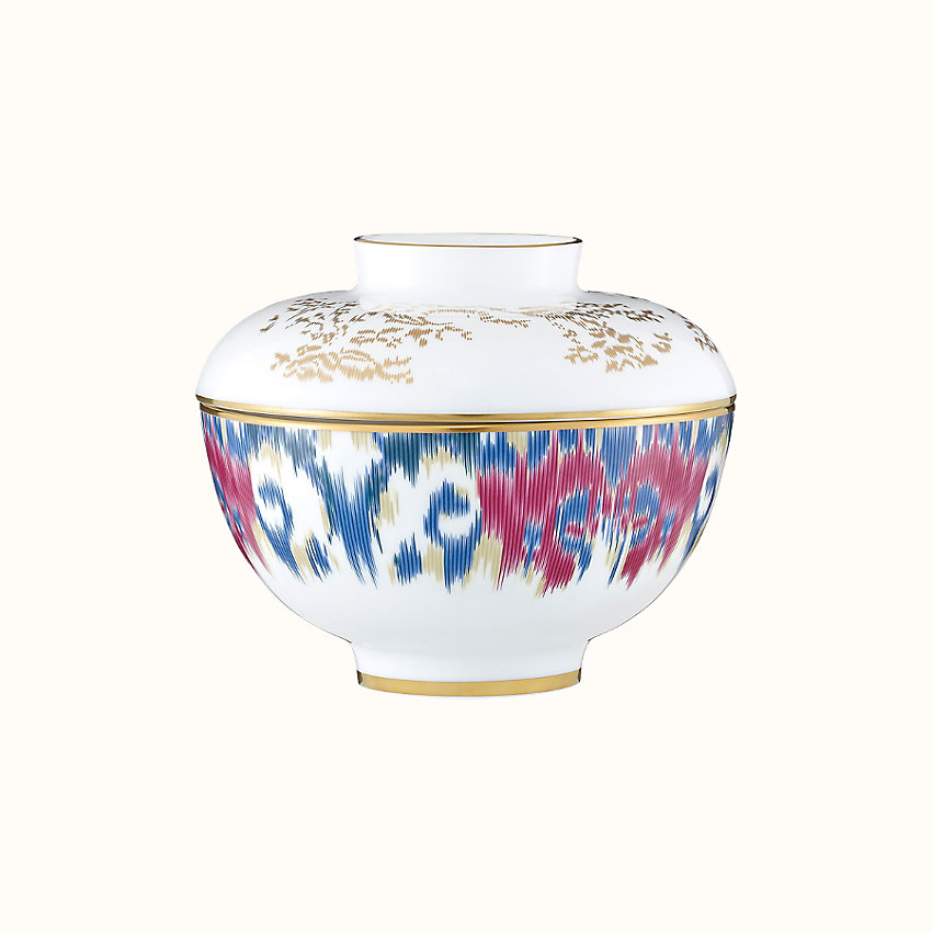 zoom image, Voyage en Ikat bowl with lid, large model